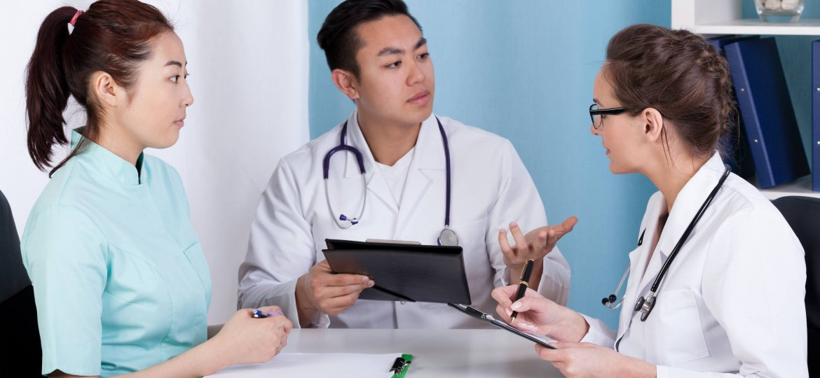Doctors during morning meeting